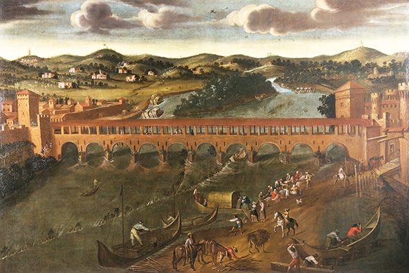 L'antico ponte coperto sul Tanaro, anonimo pittore piemontese, olio su tela, XVII secolo, collezione della Pinacoteca Civica, attualmente presso le Sale d'Arte.