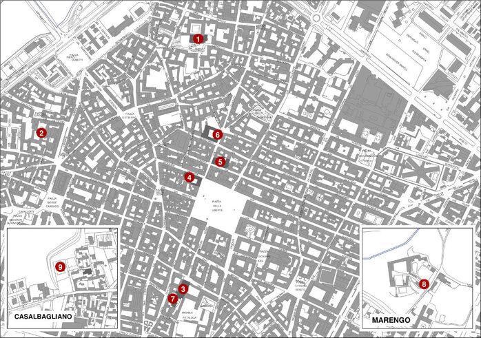 Piantina della città con ubicazione dei punti storici del Medioevo