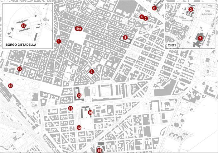 Piantina della città con ubicazione dei punti storici del Novecento