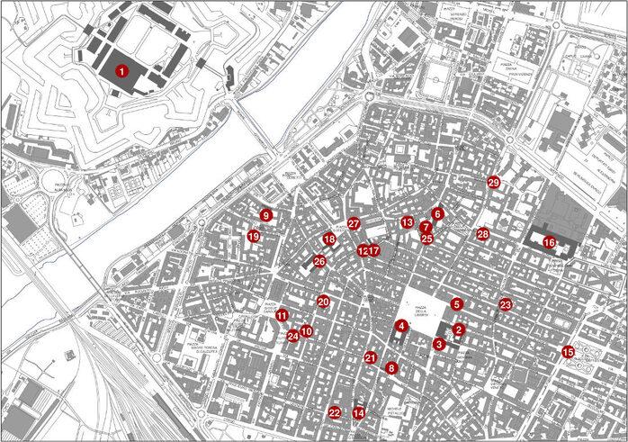 Piantina della città con ubicazione dei punti storici del Settecento