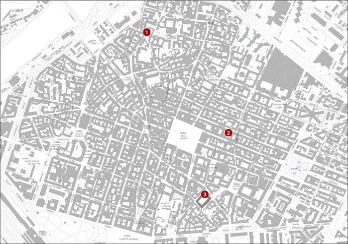 Piantina della città con ubicazione dei punti storici del Cinquecento e Seicento